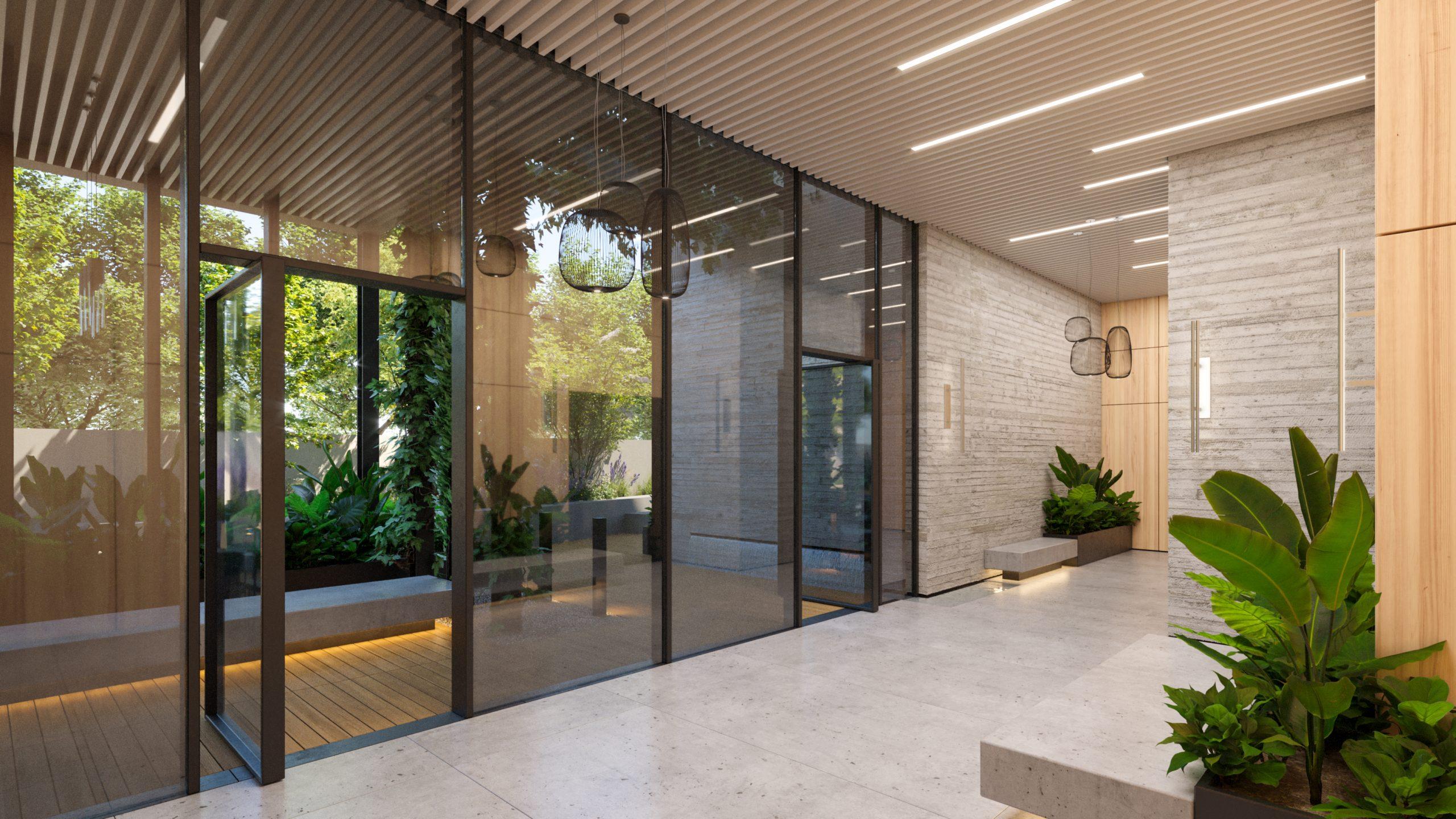 לובי הבניין המוביל לגינה הפרטית