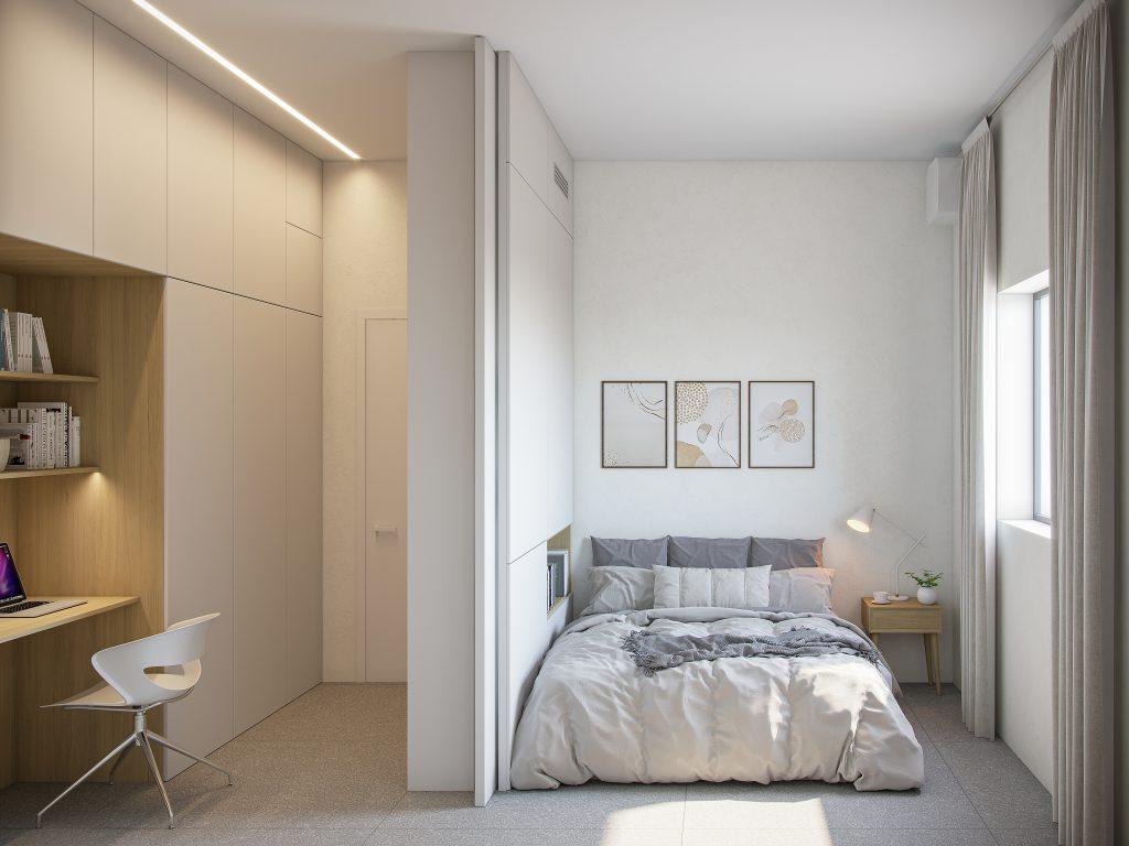 משרד ביתי בחדר השינה בעיצוב סקנדינבי